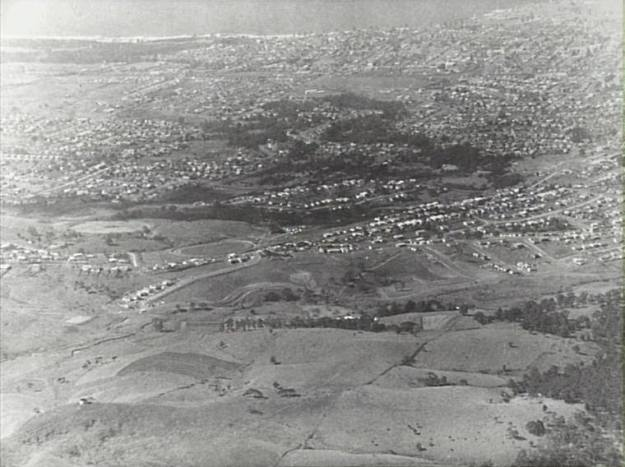 An aerial view of Edmund Rice College and Shephard's oval in the 1950's Mt Keira